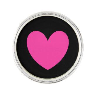 Pin's Coeurs roses fuchsia de polka sur le noir
