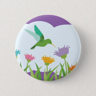 Pin's Colibri et fleurs sauvages