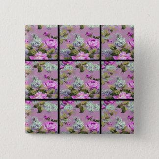 Pin's Collage rose vintage de roses sur le noir