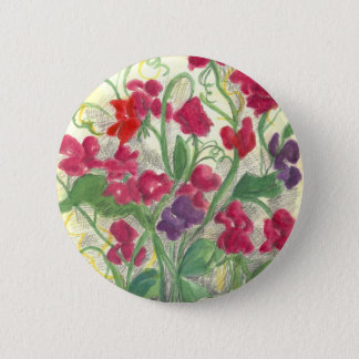 Pin's Dessin rouge d'aquarelle de jardin d'agrément de