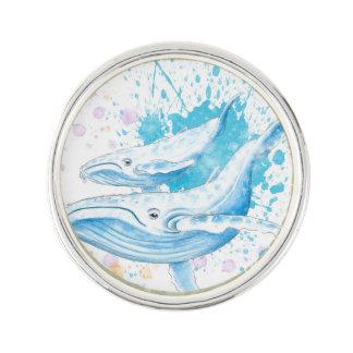 Pin's Éclaboussure de couleur de baleines bleues