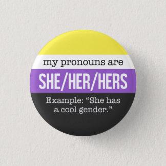 Pin's Elle/ses pronoms - drapeau de Nonbinary