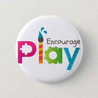 Pin's Encouragez le logo rond de bouton de jeu
