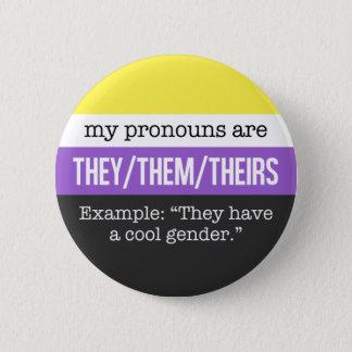 Pin's Eux/eux pronoms - drapeau de Nonbinary