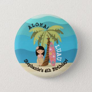 Pin's Fille hawaïenne de surfer
