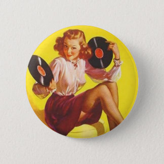 Pin's Fille vintage de vinyle
