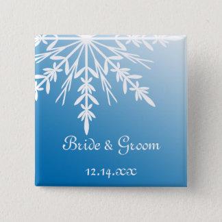 Pin's Flocon de neige blanc sur le mariage bleu d'hiver