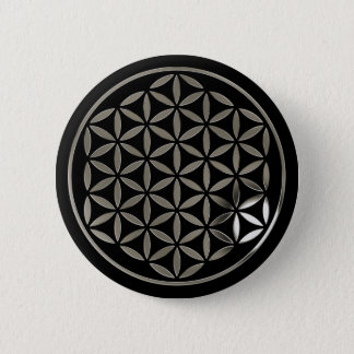 Pin's Flower Of LIFE 1 - Silver stamp | black