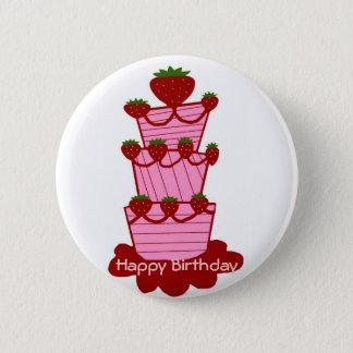 Pin's Gâteau de fraise, bouton de joyeux anniversaire