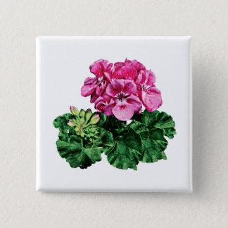 Pin's Géraniums roses avec la rosée