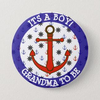 Pin's GRAND-MAMAN à être, bouton nautique de baby shower