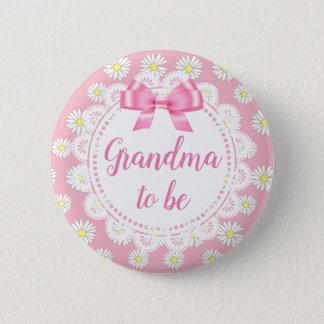 Pin's Grand-maman à être bouton rose de baby shower de
