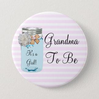 Pin's Grand-maman à être bouton rustique bleu de pot de
