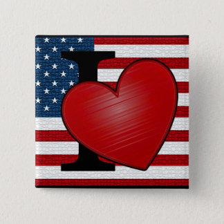 Pin's I bouton des Etats-Unis de coeur