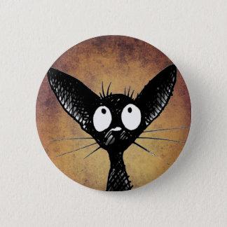 Pin's Insigne drôle de bouton d'art de chat noir