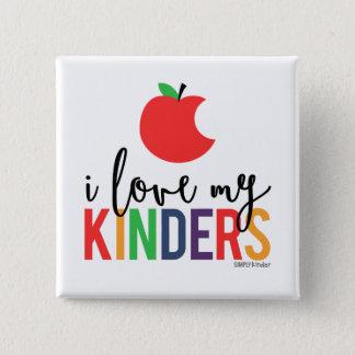 Pin's J'aime mon Kinders - bouton carré d'Apple