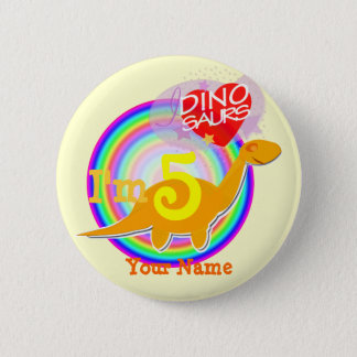 Pin's Je suis fête d'anniversaire 5 Dino orange votre
