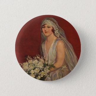 Pin's Jeune mariée victorienne vintage posant pour le