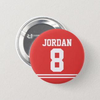 Pin's Le football rouge Jersey avec le nom et le nombre