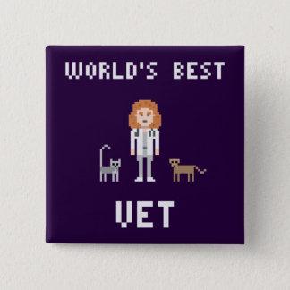 Pin's Le meilleur bouton femelle de vétérinaire de pixel