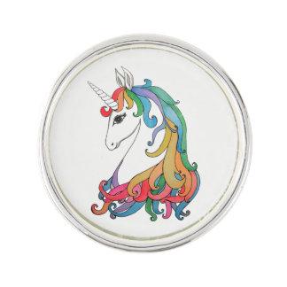 Pin's Licorne mignonne d'arc-en-ciel d'aquarelle