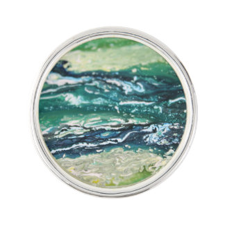 Pin's Lignes de peinture blanches d'abrégé sur turquoise
