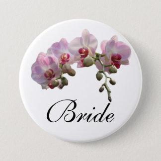 Pin's l'orchidée rose de jeune mariée/marié fleurit le