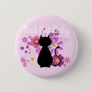 "Pin's ""Madame folle de chat"" chat dans l'insigne rose de"