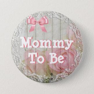 """Pin's Maman à être"""" bouton rose chic """"minable de baby"""