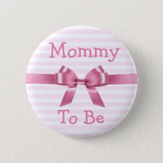 Pin's Maman à être bouton rose et blanc de baby shower