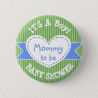 Pin's Maman rayée bleue de bouton de baby shower à être