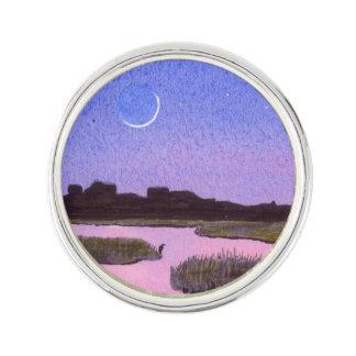 Pin's Marais de crépuscule de croissant de lune et de