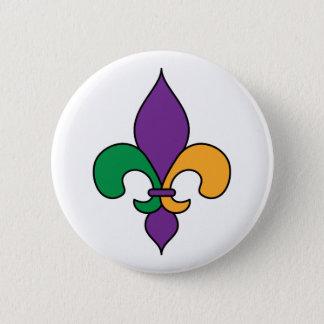 Pin's Mardi gras Fleur de Lis Button