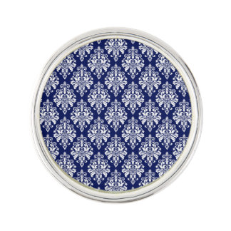 Pin's Motif élégant de damassé de bleu marine et de