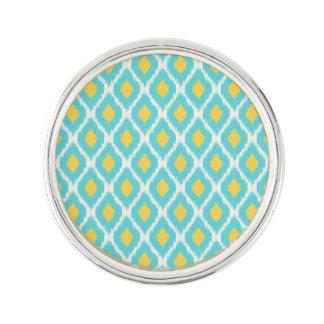 Pin's Motif tribal aztèque jaune bleu à la mode d'Ikat