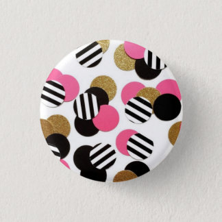 Pin's Or, noir, et bouton de point de rose