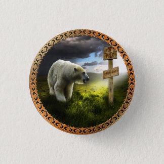 Pin's ours blanc regardant le signe en bois de Pôle Nord