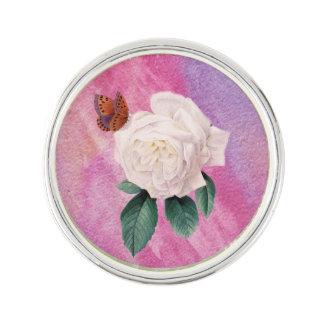 Pin's papier blanc d'aquarelle de rose rose