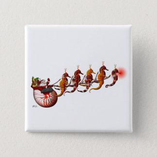 Pin's Père Noël et bouton de Sleigh d'hippocampe