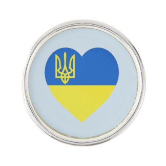 Pin's Pin de coeur de Tryzub d'Ukrainien
