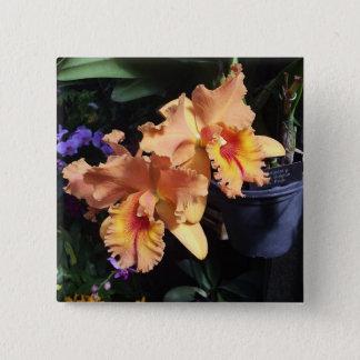 Pin's Pin orange de corsage d'orchidée