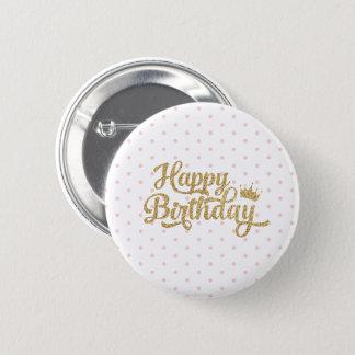 Pin's Pin rose de joyeux anniversaire de point de polka