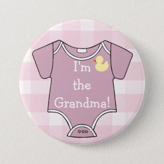 Pin's Plaid mauve je suis le baby shower de grand-maman