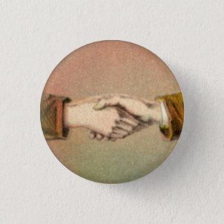 Pin's Poignée de main bouton rond de 1 pouce
