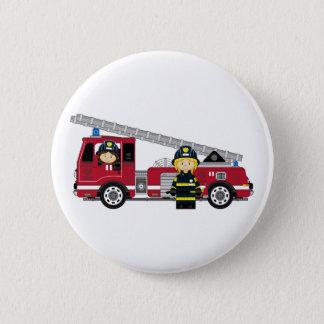 Pin's Pompier de bande dessinée et pompe à incendie