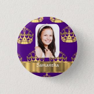 Pin's Pourpre et photo personnalisée par couronne d'or