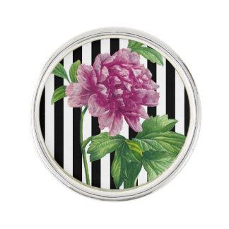 Pin's Rayure rose de noir de pivoine chic