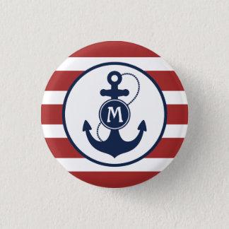 Pin's Rayures nautiques rouges avec le monogramme