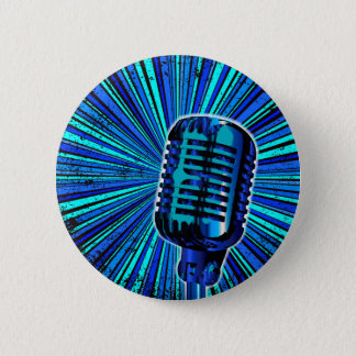 Pin's Rétro microphone bleu