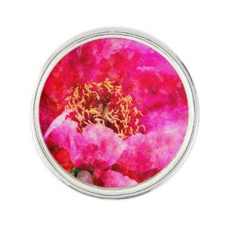 Pin's rose d'aquarelle de pivoine